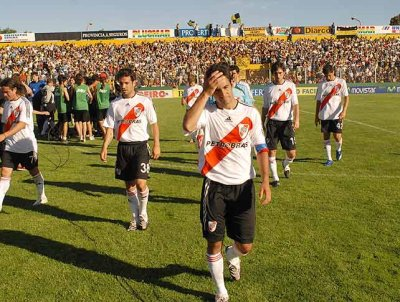 River Plate's players hang theirheads