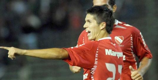 Uruguayan Guillermo Rodriguez celebrates scoring