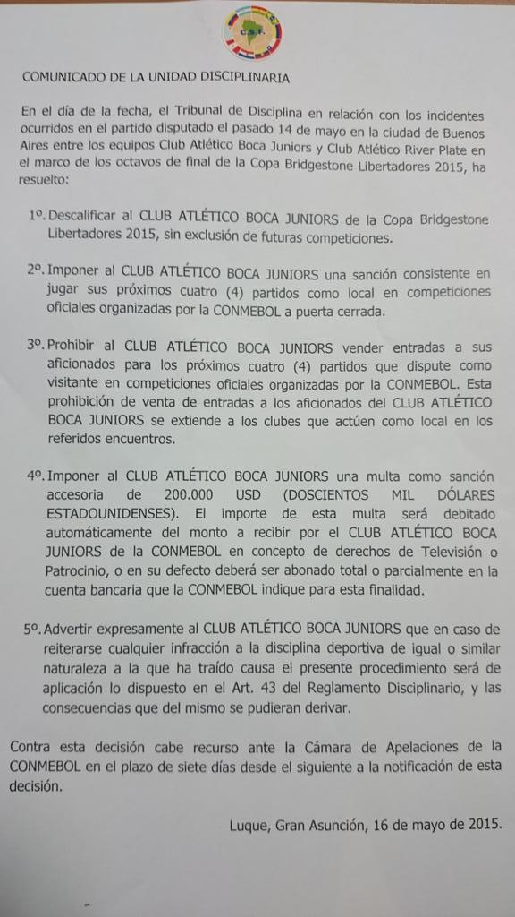 CONMEBOL ruling